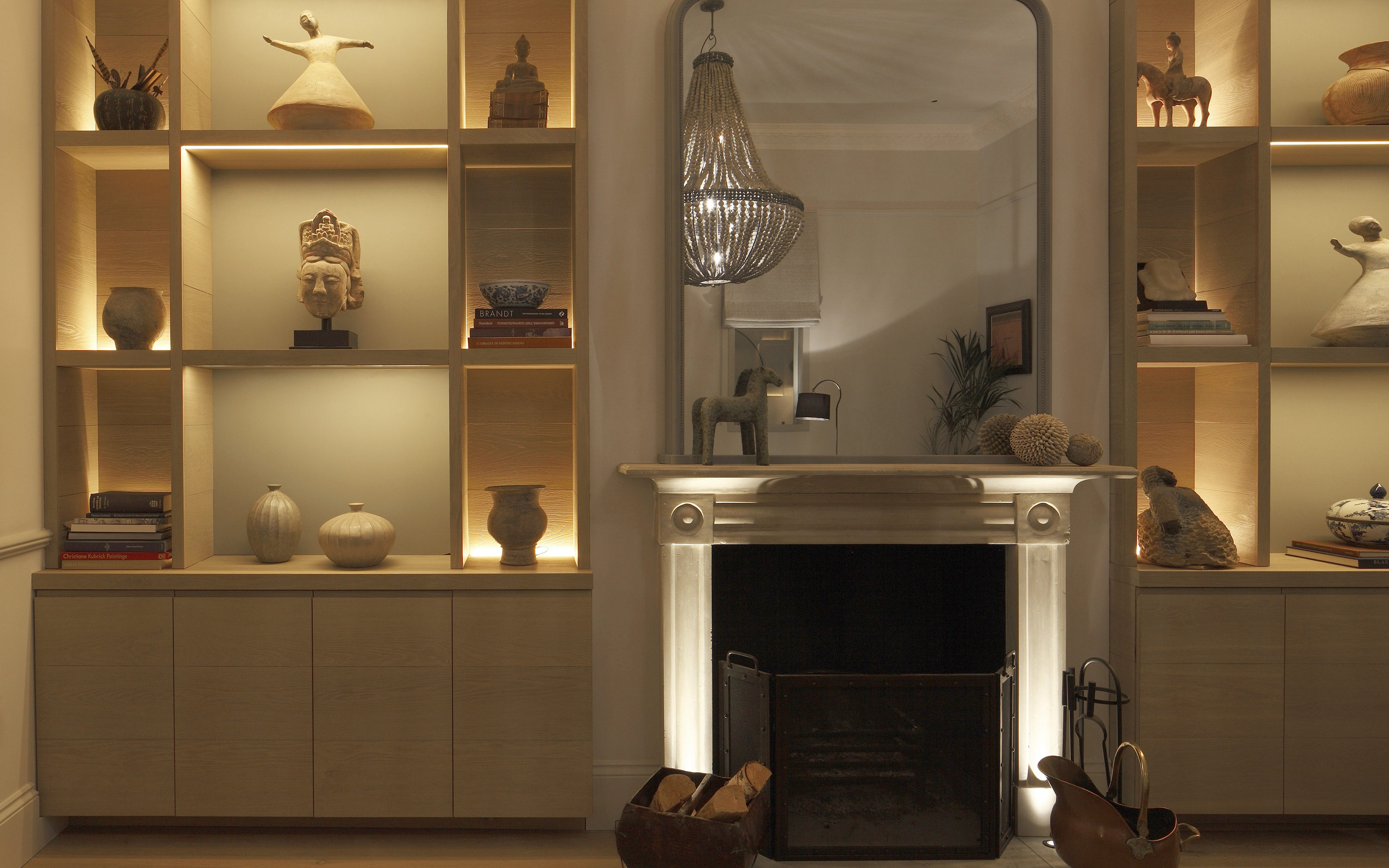 Shelving showing different techniques of lighting