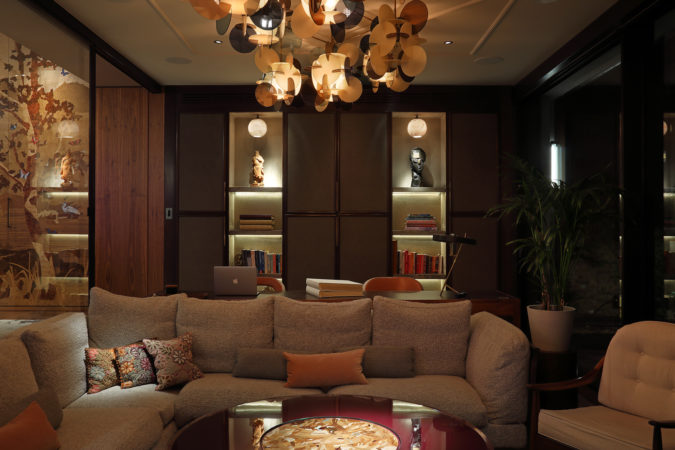 Study lighting with decorative and downlights to focus light