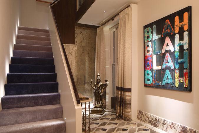 Shalini Misra's hallway, lit with Lucca step lights