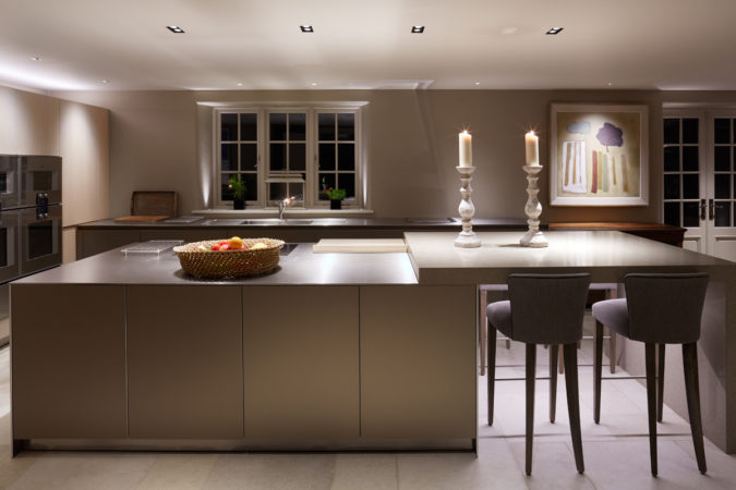 Kitchen island lit with Square double downlights in black