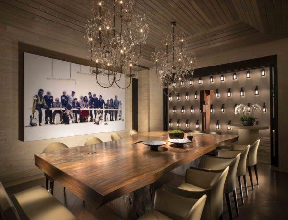 Kuala lumper dining lighting scheme with artwork lit