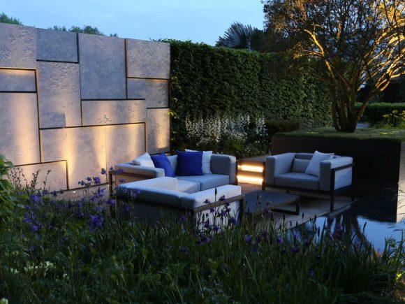 Lighting of Marcus Barnett's award winning show garden at Chelsea flower show,