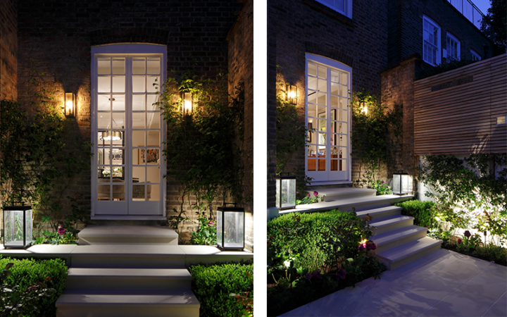 Decorative wall lighting in garden