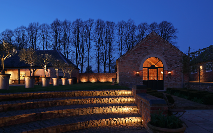 Step lighting in a large garden