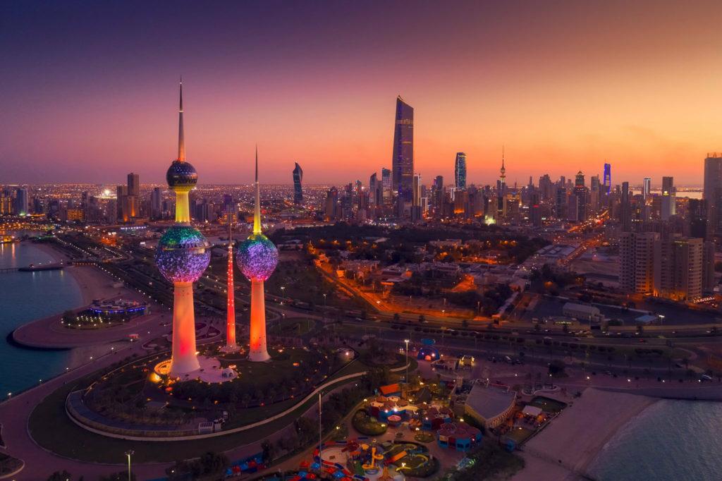 Kuwait city skyline at night