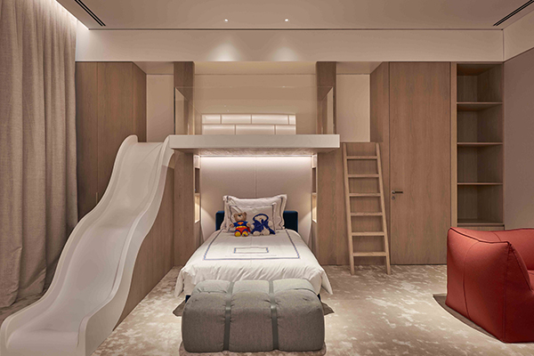 child's bedroom lighting scheme with placed downlights and niches to add interest