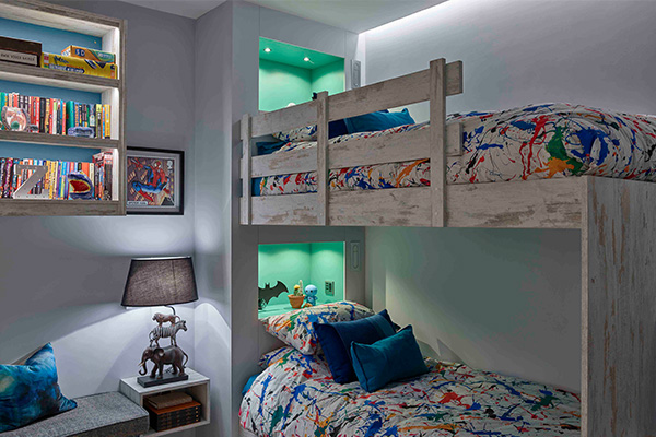 children's bedroom lighting with coloured niches RGB
